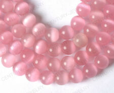 Free ship 15PCS Pink color cat eye round loose beads 8MM