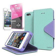 Mint / Purple Apple iPhone 5 / 5S Wallet Case; Best Design with Coolest Premium
