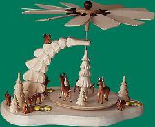 Teelichtpyramide mittel mit Rehe Seiffen Weihnachten Erzgebirge Schnee Stern NEU