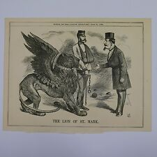 "7x10"" punch cartoon 1866 THE LION OF ST MARK"