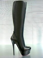 MORI ITALY PLATFORM HEELS KNEE HIGH BOOTS STIEFEL STIVALI LEATHER BLACK NERO 44