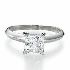 .75ct  3/4 CARAT F/VS2 PRINCESS-CUT DIAMOND 14K GOLD SOLITAIRE ENGAGEMENT RING