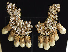Vintage Miriam Haskell Large Ear Climber Dangle Earrings~Pearls/RS/Gilt Filigree