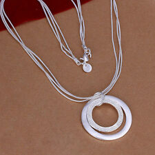 925 Sterling Solid Silver Round Pendant Strand Chain Necklace Fashion Jewelry