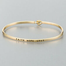 Simple Gold Faith Love Hope Engraving Vintage Brass Classic Bangle Bracelet