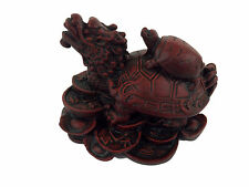 Dragon Turtle Tortoise Statue Figurine Coin Money Wealth Red Resin Feng Shui