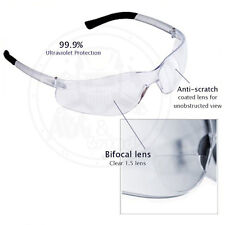 (3 Pack) Bifocal Safety Glasses Clear 2.0 Diopter Reader Safety Glasses