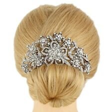 Bridesmaid Bridal Wedding Austrian Crystal Swiss Cut Diamond Hair Comb Silver