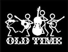 Old Time Band Music Decal with Stick People Instruments truck window sticker