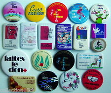 LOT OF 20 1980-90'S PIN BADGES FRENCH (HEALTH)
