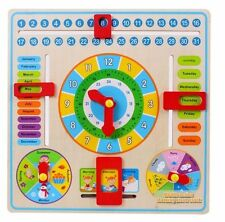 Early Educational Wooden Calendar Toy Clock Date Weather Chart Kids  Gift