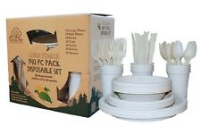 EcoSouLife Disposable Set Biodegradable Party Supplies Dishes Cup Cutlery 140PC