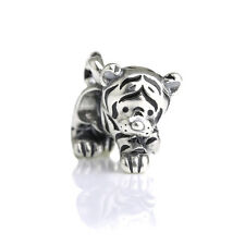 New Cute & Cuddly Tiger Kitty Sterling Silver Charm Bead S925, Cat Panther Charm