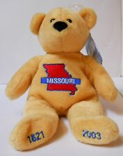 "MISSOURI ""QUARTER CUDDLER'S"" 8"" PLUSH BEAR ""2002"" ADORABLE BEAR W/TAGS!"