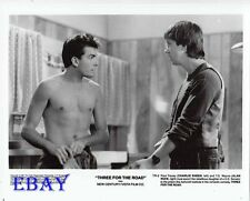 Charlie Sheen barechested, Alan Ruck VINTAGE Photo Three For The Road
