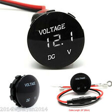 Waterproof Mini Round 12V-24V Car Boat White LED Digital Display Voltmeter Meter