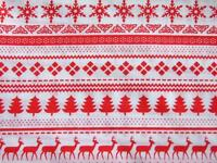 CHRISTMAS white red Argyle reindeer polycotton material fabric for craft bunting