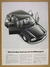 1971 Volkswagen VW 411 Sedan doors open car photo vintage print Ad