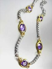 GORGEOUS Designer Silver Box Chain Cable Purple Amethyst CZ Crystals Bracelet