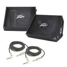 "(2) Peavey PV 12M Pro DJ Passive 12"" Stage Monitor 1000W Speaker & 1/4"" Cable"
