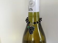 WINE BOTTLE NECK CHARM ENAMEL BUNCH GRAPES BLACK BEADS AND SPACERS x 1