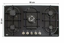 90cm Built-in Gas hob 5 burners Cooktop Black Glass LPG Cast Iron NJ-904G NEW