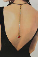 Women Back Pendant Necklace Gold Metal Chain Fashion Jewelry Beads Red Lips Kiss