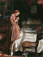 Oil painting Rossetti - Morning Prayer young lady in bedroom canvas