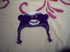 Hand crochet purple sock monkey hat~baby,0-3 months, photo prop,