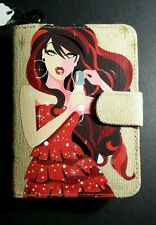 FAR NINE PAINTED RARE FABRIC SNAP LOCKING ZIPPER COIN PURSE CLUTCH WALLET NEW