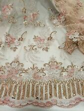 "LIGTH PINK SILVER GOLDMETALLIC EMBROIDERY SEQUIN MESH LACE FABRIC 50"" WiIDE 1 YD"