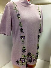 Escada Sweater 42(12) Lavender Beaded Wool Cashmere Blend