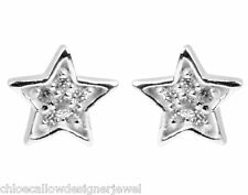 1x Pair of 925 Sterling Silver Star Crystal Set Ear Studs Earrings + gift bag
