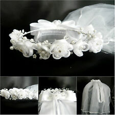 Silk organza flower rhinestone girl white first communion wedding tulle veil