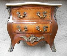 French Antique Ormolu Marble Miniature Apprentice Piece Bombe Jewellery Cabinet