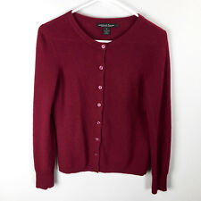 Marina Luna Women's Long Sleeve 2-Ply Cashmere Cardigan Sweater S Small Dark Red