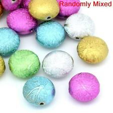 15 ASSORTED ROUND FLAT ACRYLIC STARDUST SPACER BEADS~18mm~NECKLACE~BRACELET ()