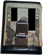 New Leather Money Clip 3 card 1 ID holder credit card holder silver metal clip
