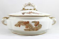 ANTIQUE HAND PAINTED GILT LARGE ROUND COVERED SERVING BOWL ROYAL WORCESTER W1701