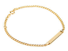 14Carat YELLOW GOLD IDENTITY BRACELET 6.3in CURB LINK FOR BABY CHILD + ENGRAVING
