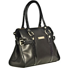 Ladies Large Real Leather Handbag Black Designer Shoulder Bag RRP £99.95!
