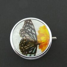 Round Pill Box Butterfly Yellow Flower Print Design Silver Metal Mirror New
