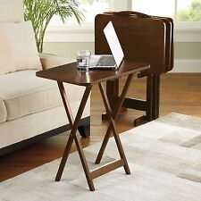 5 Piece Tray Table Set Folding Tables Wood TV Game Snack Dinner Couch Laptop