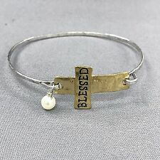Rhodium Silver Hammered Gold Cross Blessed Pearl Charm Bangle Bracelet