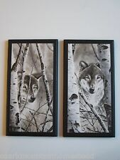 Wolf wall decor plaques wildlife pictures wolves Rustic Lodge 2pc sign set