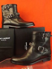 NIB SAINT LAURENT BLACK LEATHER LOGO STUDDED MOTO BIKER ANKLE BOOTS 37 $1295