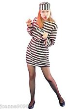 LADIES NEW STRIPED CONVICT PRISONER BURGLAR ROBBER HEN NIGHT FANCY DRESS COSTUME