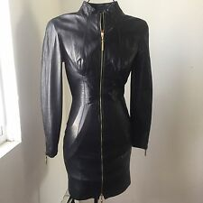 MICHAEL HOBAN North Beach Black Leather Dress Lined Front Zip Vintage  sz.3/4