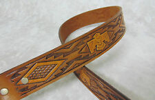 NEW Western Tooled Indian Totem Bird 32 LEATHER BELT &  Brass Buckle by Chambers