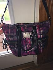 AUTHENTIC COACH 14371 PINK/PURPLE PLAID TARTAIN POPPY TOTE